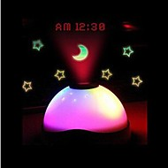 Touch Sensor Colorful Light Digital Clock Time Projector (White, 3xAAA)