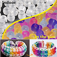 Approx 100PCS Mixed Random UV Color Changing 6x8MM Pony Beads Rainbow Color Loom Rubber Bands Bracelet