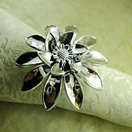 flor de mão anel de guardanapo em prata, beades acrílico, 4,5 centímetros, conjunto de 12