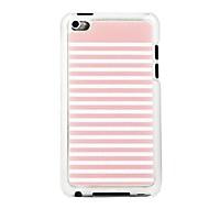 veia couro listrado estojo rígido padrão pc-de-rosa e branco para ipod touch 4