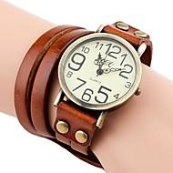 vintage estilo alça longa faixa de couro pulseira de quartzo analógico relógio das mulheres (cores sortidas)