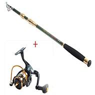 2.1 Carbon Green Sea Fishing Medium Fishing Rod+Black Fishing Reel 8BB YB2000 5.1:1 Spinning Fishing Reels