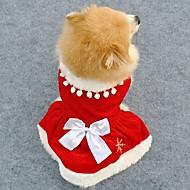 elegante estilo de color rojo de la Navidad vellones vestido rojo para mascotas perros (diferentes tamaños)