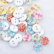 floral utklippsbok scraft sy DIY tre knapper (10 stk tilfeldig farge)