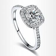 Εντυπωσιακά Δαχτυλίδια Δαχτυλίδι αρραβώνων Love Ευρωπαϊκό Νυφικό Ζιρκονίτης Cubic Zirconia Επάργυρο Επιχρυσωμένο Προσομειωμένο διαμάντι