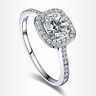 Dame Statement-ringe Forlovelsesring Kærlighed Europæisk Brude kostume smykker Zirkonium Kvadratisk Zirconium Sølvbelagt Guldbelagt