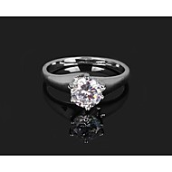 Hot Fashion Silver Platinum Plated Wedding Rings with Shiny Zircon Stone