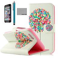 スクリーンプロテクター付きココfun®バルーンツリーパターンPUレザーケース、iphone 6プラス5.5放置し、スタイラス