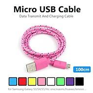 Micro usb tenacidad nylon cable de datos redonda 1m v8 para Samsung y otros teléfonos (colores surtidos)