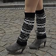 um Xuan under-the-knee meias jacquard tecer para manter o calor e proteger perna