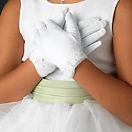 handske satin håndled længde blomst pige kid handske
