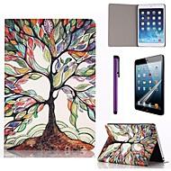 moniväriset puu kuvio pu nahkainen näytönsuoja ja stylus iPad mini 1/2/3