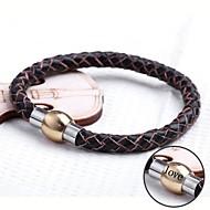 jóias de couro personalizado dom de aço inoxidável pulseira de corda gravada