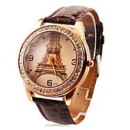 Spersonalizowane modnych kobiet zegarka luksusowe diamentowe Wieża Eiffla pu zespołu