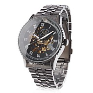 Men's Hollow Engraving Style Black Steel Auto Mechanical Wrist Watch