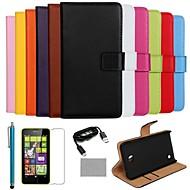 のために Nokiakケース カードホルダー / ウォレット / スタンド付き ケース フルボディー ケース ソリッドカラー ハード PUレザー Nokia Nokia Lumia 630