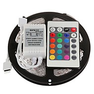 5M 300X3528 SMD RGB LED Strip Light with 24Key Remote Controller (DC12V)