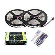 Waterproof 2×5M 300X3528 SMD RGB LED Strip Light and 44Key Remote Controller and 5A Power Supply (AC110-240V)