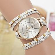 orologio cassa rotonda tessitura di cuoio banda braccialetto delle donne (colori assortiti)