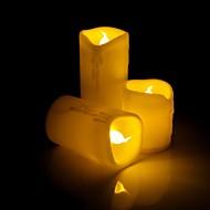 tropft Flimmern Wachs flammenlose LED-Kerze mit gelbem Licht - 3pcs