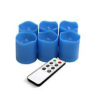 Set of 6 Blue Color Plastic LED Votive Candles with Remote and Timer