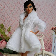Barbie Doll Deluxe Pure White Fur Coat