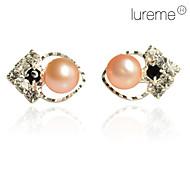 Κουμπωτά Σκουλαρίκια Μαργαριτάρι Καρδιά Heart Shape Λευκό Ροζ Κοσμήματα Καθημερινά