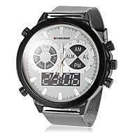 Men's Big Round Dial Steel Band Quartz Wrist Watch (Assorted Colors)