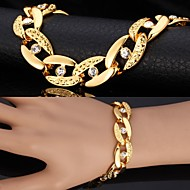 本物の金のブレスレットをメッキu7®分厚い18Kは、ユニセックスラインストーンのジュエリーを腕輪