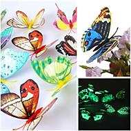 3d emulational lichtgevende muurstickers muur vlinder pvc art decals (willekeurige kleuren, 12 stuks een set)