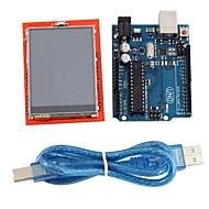 "módulo de placa Uno R3 + 2,4 ""TFT LCD de la tarjeta de expansión escudo pantalla táctil para arduino"