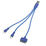 3-i-1 Universal USB 2.0 opladning og datakabel til Samsung og iPhone (22cm)