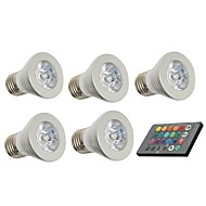 3W E26/E27 LED-spotlampen 1 150 lm Op afstand bedienbaar / Decoratief AC 85-265 V 5 stuks