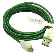 2m 6,6 pés trançado micro usb carregador cabo de dados USB para sincronização para samsung s2 / s3 / s4 htc sony lg todos os telefones Android (verde)