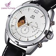 squelette cadran rond en cuir montre-bracelet mécanique des hommes (couleurs assorties)