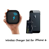 [iPhone Wireless Charging Set] Portable Qi Wireless Charger and 0.6mm Super Thin Wireless Receiver Sticker for iPhone 6