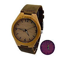 Men's Watch Bamboo Wooden Case Real Cow Leather Strap Luminous Retro Wrist Watch Cool Watch Unique Watch