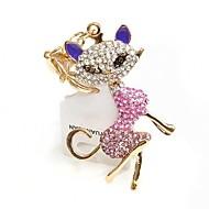 cristal de qualité élevée créative sexy chat porte-clés en métal (couleur aléatoire)