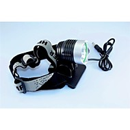 dc 3-mode cree xm-l t6 u2 leidde fietsen fiets zilver koplamp koplamp kit set (1200lm 6x18650. zwart)