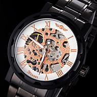 WINNER 男性 スケルトン腕時計 機械式時計 透かし加工 手巻き式 ステンレス ローズゴールドめっき バンド ブラック