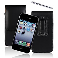Genuine PU Cowhide Leather Flip Wallet Vertical Case Belt Clip Pouch Cover Jacket for iPhone 4/4S