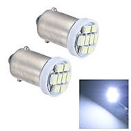 merdia BA9s 0.5W 20lm 8x1210smd førte hvidt lys læselampe / nummerplade lampe / sidelys (24v / pair)
