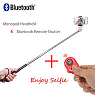 2in1 Extendable Handheld Selfie Stick Monopod and Bluetooth Remote Shutter for iPhone/iPad and Others (Assorted Colors)