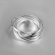 バンドリング クリスタル 純銀製 ダブルレイヤー タッセル ファッション シルバー ジュエリー 結婚式 パーティー 日常 カジュアル 1個
