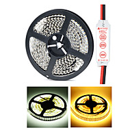 HML Dual-Row 5M Non-Waterproof 1200 x 3528 SMD White/Warm White Light LED Strip Lamp with HML Mini Controller Set (12V)