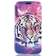 padrão de cabeça do tigre pu couro caso de corpo inteiro com suporte para Samsung Galaxy S6 borda