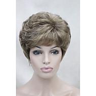 金色のブロンドのハイライトショートカーリー女性の合成かつらを使用して新しいライトブラウン