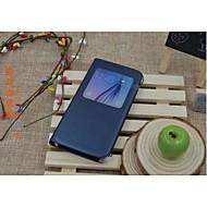 Mert Samsung Galaxy tok Betekintő ablakkal / Automatikus készenlét/ébresztés / Flip Case Teljes védelem Case Egyszínű Műbőr Samsung S6