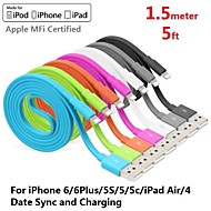 Assorted Colors Apple MFi Certified Lightning to USB Data Sync Charger Flat Cable for iphone 6/6plus/5s/5/ipad(150cm)