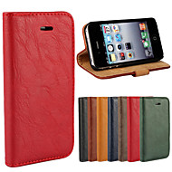 Bark Grain Genuine Leather Full Body Cover with Stand and Case for iPhone 4/4S (Assorted Colors)